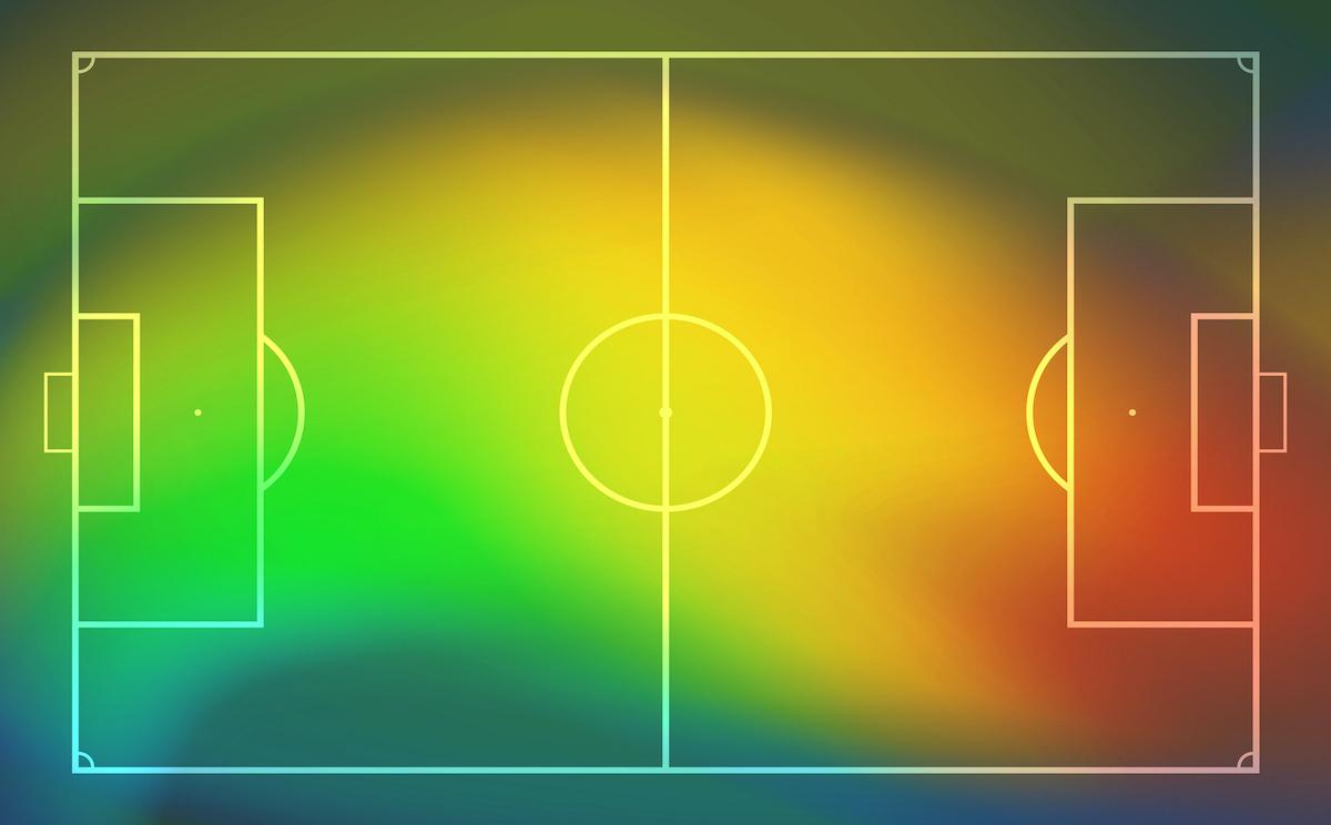 Średnia pozycja piłkarza na boisku - heat map